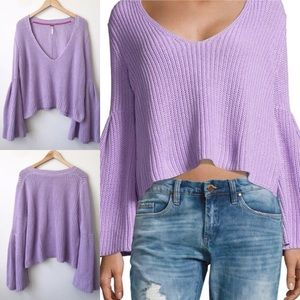 Free People Sweaters - Free People Damsel Knit Bell Sleeves Crop Sweater